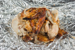 Grilled chicken on Aluminium Foil Stock Images