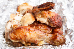Grilled chicken on Aluminium foil Royalty Free Stock Photo