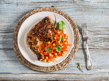 Grilled Chicken And Fresh Carrots Chickpea Salad Royalty Free Stock Image