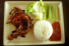 Grilled chicken Asian Food & raw salad Royalty Free Stock Image