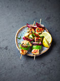 Grilled Chicken, Avocado and Red Onion Skewers Stock Photo