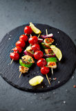Grilled Chicken, Avocado, Zucchini and Cherry Tomato Skewers Royalty Free Stock Photo