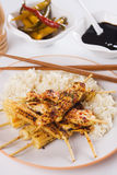 Grilled chicken and baby corn on skewer Stock Photos