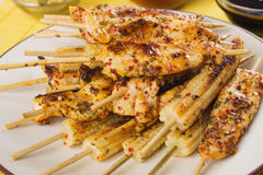 Grilled chicken and baby corn skewer Royalty Free Stock Photo