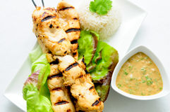 Grilled chicken on bamboo skewers Royalty Free Stock Image