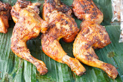 Grilled chicken on banana leaves Stock Image