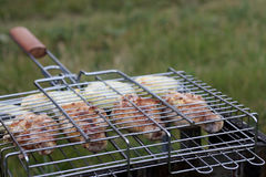 Grilled chicken in barbecue Stock Photography
