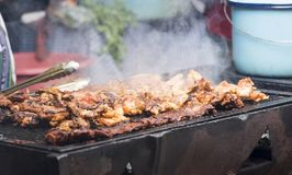 Grilled Chicken On BBQ Stock Photography