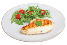 Grilled Chicken Breast. Grilled seasoned chicken breast with rocket salad Stock Image