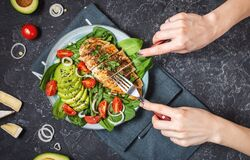 Free Grilled Chicken Breast And Avocado Salad With Spinach And Cherry Tomatoes On Black Stone Background. Healthy Food, Ketogenic Diet Stock Photos - 181529193