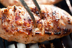 Grilled chicken breast on barbeque Stock Photos