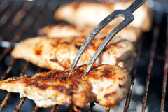 Grilled chicken breast on barbeque Royalty Free Stock Photo