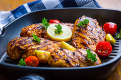 Grilled chicken breast in different variations with cherry tomat Stock Photography