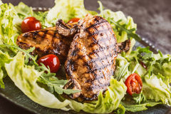 Grilled chicken breast in different variations with lettuce salad cherry tomatoes  mushrooms herbs cut lemon on a wooden board or Royalty Free Stock Photos