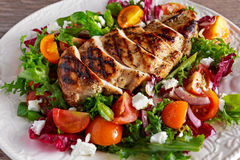 Grilled Chicken Breast fillet with fresh tomatoes vegetables salad. concept healthy food. Stock Photos