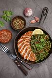 Grilled chicken breast fillet and green beans stock photo