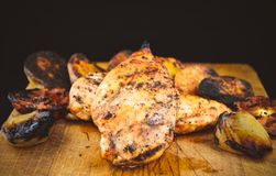 Grilled Chicken Breast fillet with with onion stock images