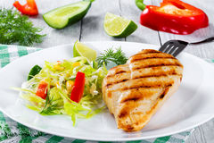 Grilled chicken breast fillet with vegetables salad, close-up Royalty Free Stock Images