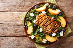 Grilled chicken breast with fresh peaches, blueberries, arugula Royalty Free Stock Photos