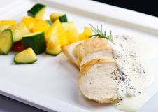 Grilled chicken breast with fresh vegetables Stock Image