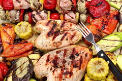 Grilled Chicken Breast, Mixed Vegetables and Fork Close-Up Royalty Free Stock Photo