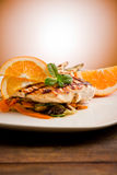 Grilled Chicken Breast On Ratatouille Bed Royalty Free Stock Photography