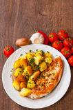 Grilled chicken breast with potato Royalty Free Stock Photography