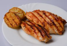 Grilled chicken breast. With grilled potatoes on a white plate Stock Photography