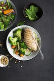 Grilled chicken breast, red rice and fresh broccoli vegetables, carrots, soybeans, spinach for garnish. With pine nuts Royalty Free Stock Photos