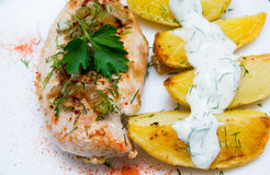 Grilled chicken breast with roasted potatoes Royalty Free Stock Photo