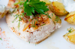 Grilled chicken breast with roasted potatoes Royalty Free Stock Image