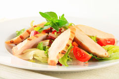 Grilled chicken breast and salad Stock Photos
