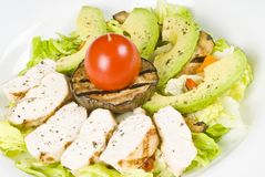 Grilled Chicken Breast Salad with Avocado Stock Images
