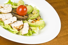 Grilled Chicken Breast Salad with Avocado Royalty Free Stock Images