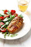 Grilled Chicken Breast with Salad Stock Photo