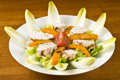 Grilled Chicken Breast Salad with Endive Stock Photography
