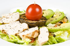 Grilled Chicken Breast Salad With Avocado Stock Photo