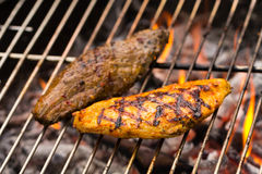 Grilled chicken breast and steak Stock Image