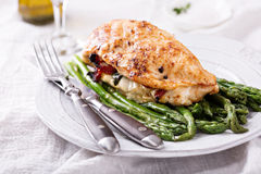 Grilled chicken breast stuffed with mozzarella Stock Photography
