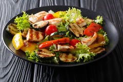 Grilled chicken breast and summer vegetables close-up on a plate Royalty Free Stock Photos