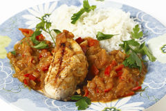 Grilled chicken breast with tomato sauce Royalty Free Stock Images