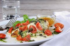 Grilled chicken breast topped with melted mozzarella cheese, basil pesto, tomato , caper. Grilled chicken breast topped with melted mozzarella cheese, basil stock images