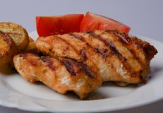 Grilled chicken breast. Two pieces on a white plate with potatoes and tomatoes Stock Image