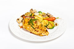 Grilled chicken breast with vegetables Stock Photo