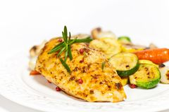 Grilled chicken breast with vegetables Royalty Free Stock Photos
