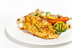Grilled chicken breast with vegetables Royalty Free Stock Photo