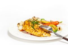 Grilled chicken breast with vegetables Stock Photos