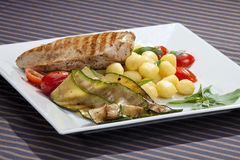 Grilled chicken breast w grilled aubergine Royalty Free Stock Photo