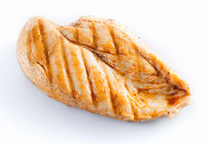 Grilled chicken breast  on white. Grilled chicken breast Royalty Free Stock Photos