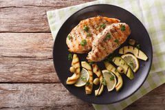 Grilled Chicken Breast With Avocado, Lemon And Olive Close-up. H Royalty Free Stock Photography